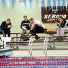 WARREN DILLAWAY / Star Beacon<br /> MEMBERS OF the St. Bonaventure swimming team relax before competition on Friday evening at Spire Institute in Harpersfield Township.