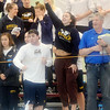 WARREN DILLAWAY / Star Beacon<br /> MEMBERS OF the Lasalle swim team cheer on the 400 yard men's medley on Friday night at Spire Institute in Harpersfield Township.