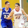WARREN DILLAWAY / Star Beacon<br /> SHAYLA RAMOS of Edgewood dribbles up court as  Daisha Rigo of Collinwood defends on Thursday night during a Division II sectional championship game against Collinwood at Edgewood.
