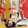 WARREN DILLAWAY / Star Beacon<br /> MATT DIDONATO of Edgewood (standing) defends Curtis Franklin of Conneaut on Friday night at Edgewood.