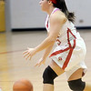 WARREN DILLAWAY / Star Beacon<br /> COURTNEY HARRIMAN of Geneva dribbles on Saturday during a home game with Brush.