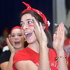 WARREN DILLAWAY / Star Beacon<br /> MALLORY SHELLENBERGER, a varsity cheerleader at St. John High School, gets students fired up on Monday during a pep rally in honor of Ohio State football coach Urban Meyer who graduated from the school in 1982. Oho State played Oregon in the national championship game on Monday night in Arlington, TX.