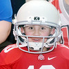 WARREN DILLAWAY / Star Beacon<br /> CARTER BLENMAN won the kindergarten to third grade competition for best dressed during an Ohio State pep rally at St. John School in Saybrook Township in honor of graduate Urban Meyer. Meyer, head football coach at Ohio State, coached the Buckeyes on Monday night during the national championship game against Oregon.