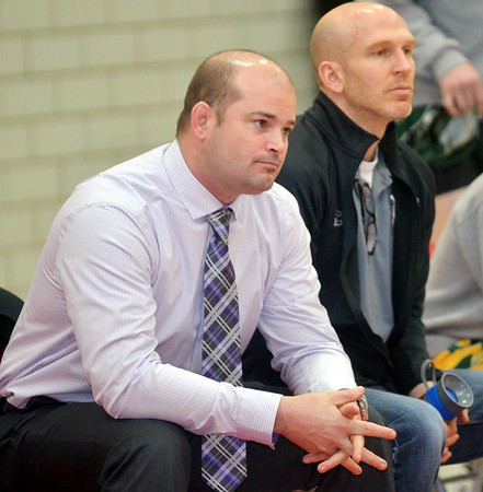 WARREN DILLAWAY / Star Beacon<br /> KEVIN WELSH (left), Lakeside wrestling coach, and Kevin Rinehardt, assistant    coach, watch the aaction on Thursday night at Edgewood.
