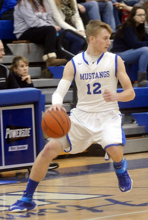 WARREN DILLAWAY / Star Beacon<br /> MATT LARNED of Grand Valley dribbles up court on Saturday night during a home game with Edgewood.