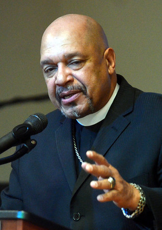 WARREN DILLAWAY / Star Beacon<br /> REV. GERMAN WOMACK, pastor of Peoples Missionary Baptis Church in Ashtabula, speaks during a Kiwanis Club Martin Luther King Jr. breakfast at St. Peter's Episcopal Church in Ashtabula on Monday morning.