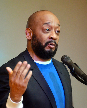WARREN DILLAWAY / Star Beacon<br /> STEVE SARGENT speaks during a Kiwanis Club Martin Luther King Jr. breakfast at St. Peter's Episcopal Church in Ashtabula on Monday morning.