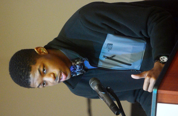 WARREN DILLAWAY / Star Beacon<br /> ROBERT WALKER, a tenth grader at Lakeside High School, speaks during a Kiwanis Club Martin Luther King Jr. breakfast at St. Peter's Episcopal Church in Ashtabula on Monday morning.