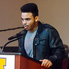 WARREN DILLAWAY / Star Beacon<br /> TYREE MEEKS, a junior at Lakeside High School, speaks during a Kiwanis Club Martin Luther King Jr. breakfast at St. Peter's Episcopal Church in Ashtabula on Monday morning.