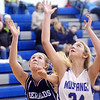 WARREN DILLAWAY / Star Beacon<br /> CHEYANNE BOSSE (left) of St. John and Allie Holmes of Grand Valley reach for a rebound on Saturday in Orwell.