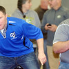 WARREN DILLAWAY / Star Beacon<br /> AARON BROWN (left), assistant Grand Valley wrestling coach, and head coach Chris Duris react during a Perry Pin City Tournament match on Saturday.