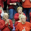 GENEVA BASKETBALL fans applaud the Lady Eagles after they lost to West Branch on Saturday during a Division II regional final at Barberton.