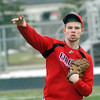 WARREN DILLAWAY / Star Beacon<br /> SAM CASKEY of Jefferson takes infield practice on Monday afternoon during infield practice at Falcon Stadium in Jefferson.