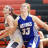 WARREN DILLAWAY / Star Beacon<br /> LEXI ZAPPITELLI (left) of Conneaut battles for position with Shar Miller (33) of Grand Valley  during the Star Beacon Ed Batanian Senior Classic on Tuesday night at Jefferson High School.