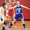 WARREN DILLAWAY / Star Beacon<br /> JESSICA VORMELKER (12) of Grand Valley defends Angela Cole (with ball) of Conneaut during the Star Beacon Ed Batanian Senior Classic on Tuesday night at Jefferson High School.