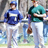 WARREN DILLAWAY / Star Beacon<br /> MATT ROCCO of Lakeside (right) chats with Troy Colucci of Conneaut during a pitching change on Saturday at Skippon Park in Conneaut.