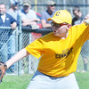 WARREN DILLAWAY  / Star Beacon<br /> PATRICK CANTOLA of the Conneaut Major Gold team pitches on Saturday at Skippon Park in Conneaut.
