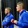 WARREN DILLAWAY / Star Beacon<br /> Grand Valley 138 pound wrestler Cody Rhoades (right) listens to music while warming up for a quarterfinal match on Friday during the Ohio High School State Wrestling Tournament in Columbus.