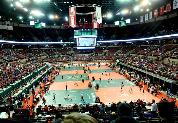 WARREN DILLAWAY / Star Beacon<br /> Nine mats line the floor of the Schottenstein Center during the Ohio High School State Wrestling Tournament in Columbus.
