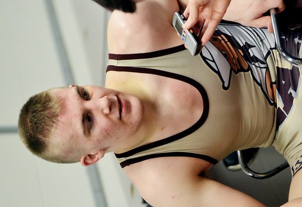 WARREN DILLAWAY / Star Beacon<br /> Pymatuning Valley's Gaige Willis is interviewed following a 182 pound quarterfinal match at the Ohio High School State Wrestling Tournament in Columbus.
