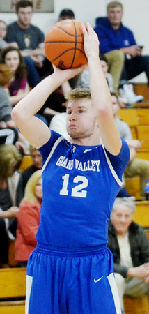 WARREN  DILLAWAY | Star Beacon<br /> Grand Valley's Matt Larned launches a shot during the Star Beacon Senior Classic at Edgewood High School on Saturday evening.