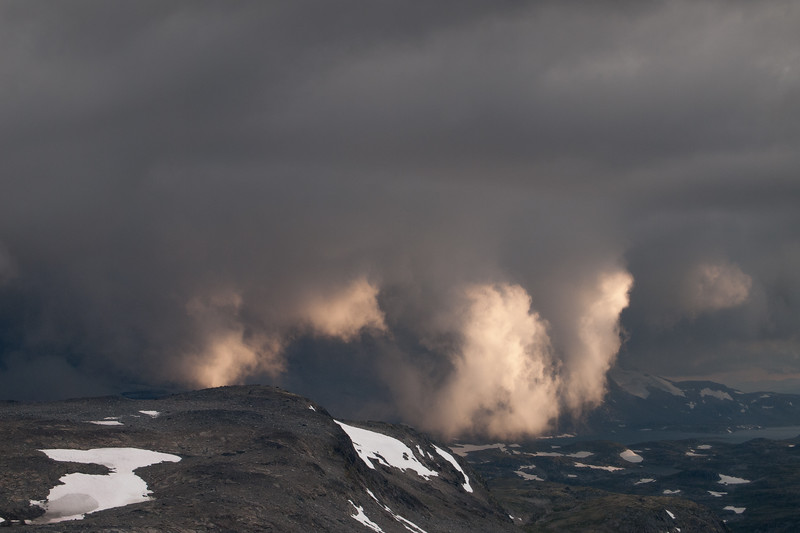 Storm clouds over Sognefjellet mountain area. Jotunheimen National Park. Norway.