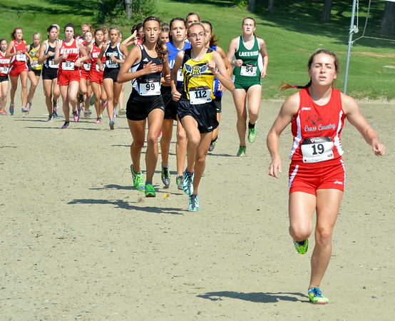 WARREN DILLAWAY / Star Beacon<br /> EMILY DEERING of Geneva leads the field during the War on the Shore Cross Country Invitational at Lake Shore Park in Ashtabula.