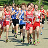 WARREN DILLAWAY / Star Beacon<br /> CHRIS LEMAY (149) of Edgewood leads a group of runners during the War on the Shore Cross Country Invitational at Lake Shore Park in Ashtabula on Monday afternoon.