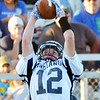 WARREN DILLAWAY / Star Beacon<br /> AUSTIN SPOON of Grand Valley catches a pass on Friday night during opening night action at Conneaut.