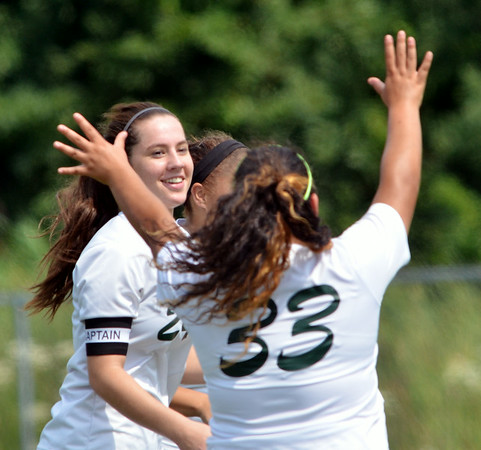 WARREN DILLAWAY / Star Beacon<br /> LAURA STRUBBE  (left) is congratulated by Lakeside teammate Yazmeen Jimenez (33) after Strubbe scored the only goal of the game against Conneaut on Saturday afternoon.