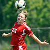 WARREN DILLAWAY / Star Beacon<br /> KARAH JOHNSTON of Geneva heads the ball on Saturday during a match at Edgewood.