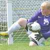 WARREN DILLAWAY / Star Beacon<br /> BEN MITTELSTADT of Conneaut makes a save on Saturday during a home match with Lakeside.