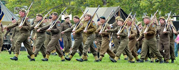 WARREN DILLAWAY / Star Beacon<br /> WORLD WAR II re-enactors participate in the Allied Parade on Saturday at D-Day Conneaut at Conneaut Township Park.
