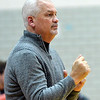 WARREN DILLAWAY / Star Beacon<br /> JOHN BOWLER, Edgewood boys basketball coach, instructs his team on Tuesday night during a home game with Lakeview.