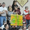 WARREN DILLAWAY / Star Beacon<br /> PYMATUNING VALLEY girls basketball fans celebrate after Kelsea Brown beat the school's former scoring record of 1,140 points on Thursday night during a home game with Grand Valley.