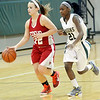 WARREN DILLAWAY / Star Beacon<br /> SHAYLA CROSS (left)  of Geneva dribbles down court  with Dazhae Campbell of Lakeside in hot pursuit on Saturday afternoon in Saybrook Township.