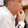 WARREN DILLAWAY / Star Beacon<br /> JEFF COMPAN, Pymatuning Valley girls basketball coach, watches the action on Monday evening during a home game with Windham.