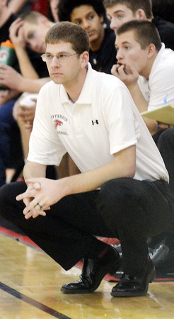 WARREN DILLAWAY / Star Beacon<br /> STEVE FRENCH, Jefferson boys basketball coach, watches the action on Friday evening during a home game with Edgewood.