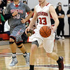 WARREN DILLAWAY / Star Beacon<br /> SAM CASKEY (33) of Jefferson dribbles up court with Jeff Gonzalez (50) of Edgewood close behind on Friday evening in Jefferson.