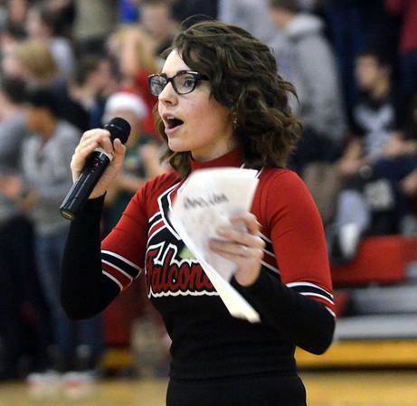 WARREN DILLAWAY / Star Beacon<br /> MEGAN YAZWINSKI was the cheerleader emcee for the Reindeer Games at Jefferson High School on Friday.