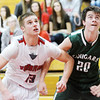 WARREN DILLAWAY / Star Beacon<br /> MASON LILJA (13) of Edgeood battles for position with Mason Bonser of Lake Catholic (20) on Tuesday eveningggg at Edgewood.