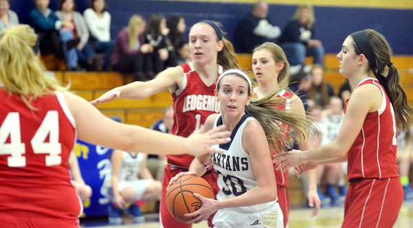 WARREN DILLAWAY / Star Beacon<br /> LEXI ZAPPITELLI (with ball) of Conneaut tries to get by four Ledgemont defenders including Carysa Cantrell (44), Aliva Sidley (far right) and Taylor Erskine (center front) on Friday night during Conneaut Holiday Tournament action at Garcia Gymnasium.