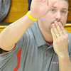 WARREN DILLAWAY / Star Beacon<br /> STEVE KRAY, Edgewood girls basketball coach, prepares to high five one of his players on Friday night during the Conneaut Holiday Tournament at Garcia Gymnasium.