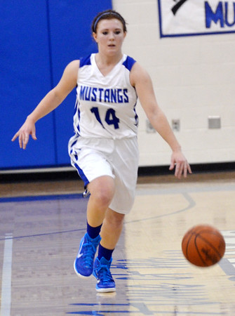WARREN DILLAWAY / Star Beacon<br /> ABBY TAKACS of Grand Valley dribbles up court on Saturday afternoon during a home game with Conneaut.