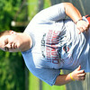WARREN DILLAWAY / Star Beacon<br /> JUSTIN SWIGER runs sprints during a Pymatuning Valley football practice.