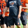 WARREN DILLAWAY / Star Beacon<br /> JEFF WHITAKER, former Conneaut football coach, returned to Spartan land on Tuesday with his Mineral Ridge football team. Whitaker took over his alma mater after several years away from the game.