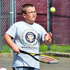 WARREN DILLAWAY / Star Beacon<br /> BILLY SCHMAEMAN, 11, works on a drill at the Conneaut City Recreation Tennis Camp on Thursday morning in Conneaut.
