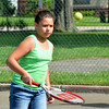 WARREN DILLAWAY / Star Beacon<br /> ISABELLA BENSON, 10, works on a drill at the Conneaut City Recreation Tennis Camp on Thursday morning in Conneaut.