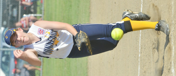 WARREN DILLAWAY / Star Beacon<br /> HANNAH CLARK pitches for the Conneaut major league all-stars on Friday evening during the state tournament at Cederquist Park in Ashtabula.