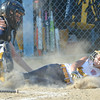 WARREN DILLAWAY / Star Beacon<br /> JORDYN SEVERNS of Tallmadge slides safely home as Michaella Notte applies the tag on Friday evening during the state tournament at Cederquist Park in Ashtabula.